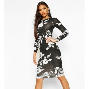 Long sleeve midi body on dress